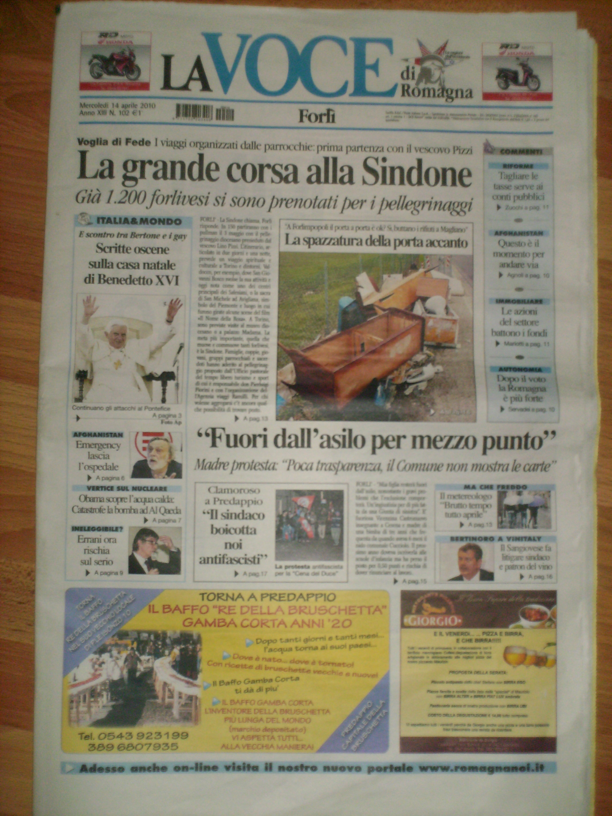 La Voce del 14/4/2010 Prima Pagina